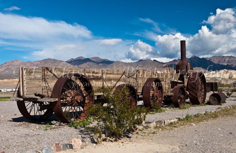 Borax wagons and equipment at the Furnace Creek Ranch in Death Valley National Park, California, USA.