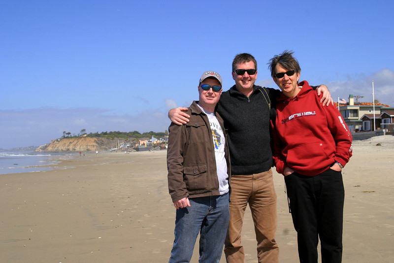2007, on the beach in Del Mar, California Speedway Nascar weekend: Jeff, Graham and Clive