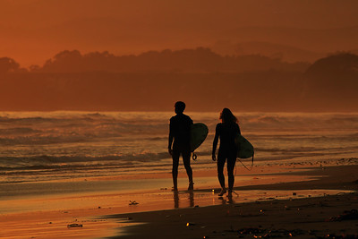 Goleta - Surfers at sunset, Coal Oil Point