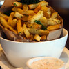 Healdsburg California, Willi's Seafood, Fries Topped with Kale Strips, Aioli Sauce