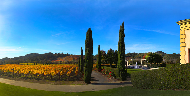 Ferrari-Carano Winery, Panorama View on Fall Colors