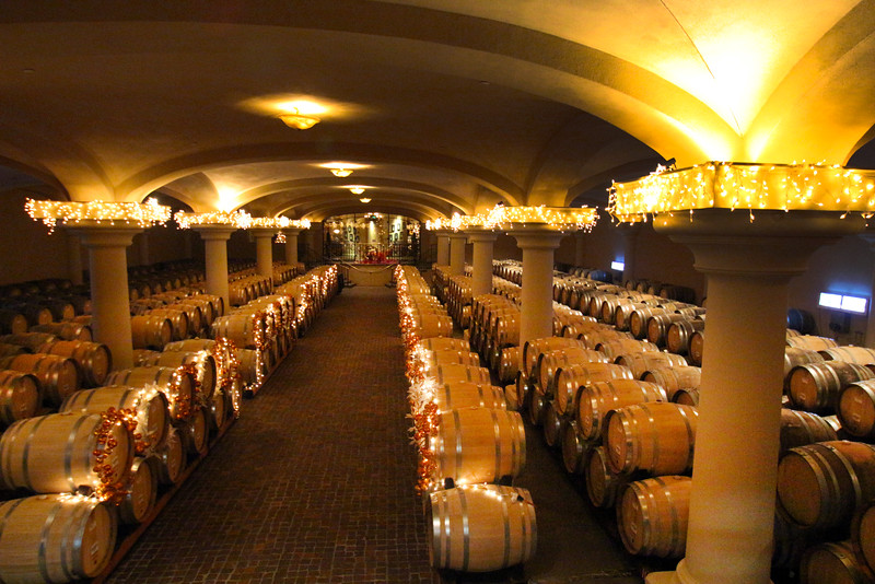 Ferrari Carano Winery, Barrel Room in Holiday Decor