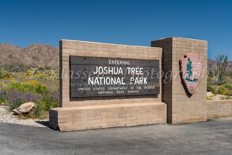 A park sign in Joshua Tree National Park, California, USA.