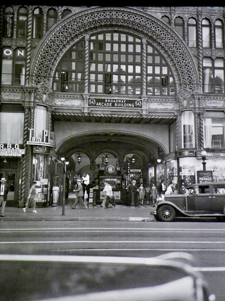 Antique photo of the Broadway Arcade Building.  The Arcade actually connects two 12-story buildings.