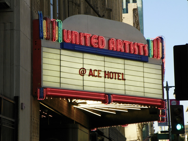 In 1919, Mary Pickford, Douglas Fairbanks, Charlie Chaplin and D.W. Griffith left the movie studio system and formed their own company, United Artists.  Built in 1927, their Broadway movie house in L.A., the first of the United Artists chain, assured their total freedom to control their own work.