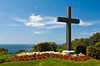 A seaside cross overlooking the Pacific Ocean in La Jolla, California, USA.