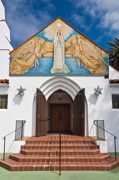 Mary Star of the Sea Church and School complex in La Jolla, California, USA.