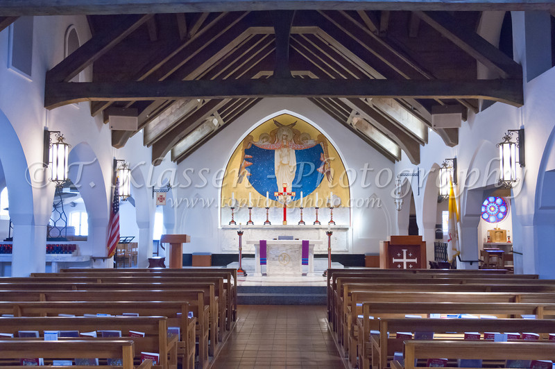 Mary Star of the Sea Church and School complex, interior in La Jolla, California, USA.
