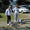 Diane and her sis-in-law, Jan, get ready for the pet costume parade.