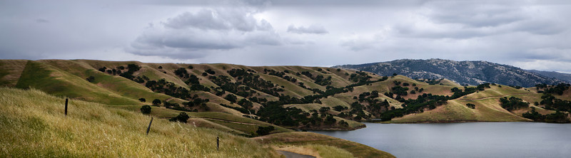 """EBRP - Del Valle.   Panoramic of north end of Lake Del Valle, Livermore, CA.  Original size 40"""" x 11"""" appx.<br /> <br /> Some of us hike these trails, some of us run these trails, some of us bike these trails, and some of you have become the dearest of friends, a family of trail hobos.   I love you all."""