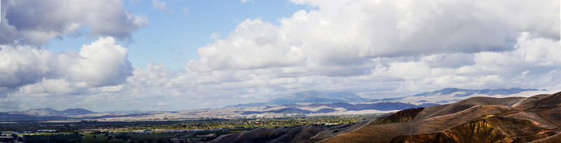 """34""""x8"""" panorama LIvermore<br /> Horizon, from left to right:   Las Trampas, Mt. Diablo, Morgan Territory.<br /> Livermore mid-frame."""