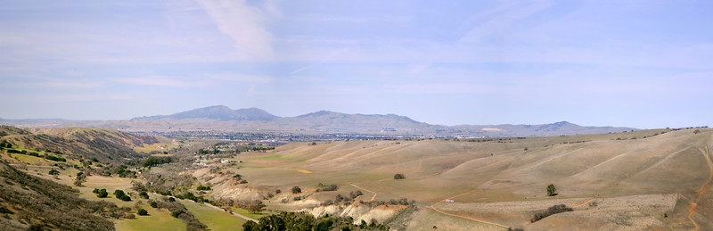 Livermore Valley - Horizon from left to Right... Mt. Diablo, Morgan Territory, Brushy Peak.   Foreground, Mines Raod.