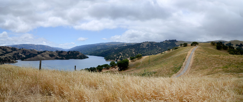 Panorama, where the road ends at the vanishing point is the old oak tree with the two benches.<br /> (EBRPD - Del Valle)