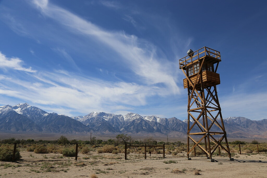 A replica watch tower. Eight watchtowers, equipped with searchlights and machine guns pointed inward at the incarcerees, were positioned around the perimeter of the camp.
