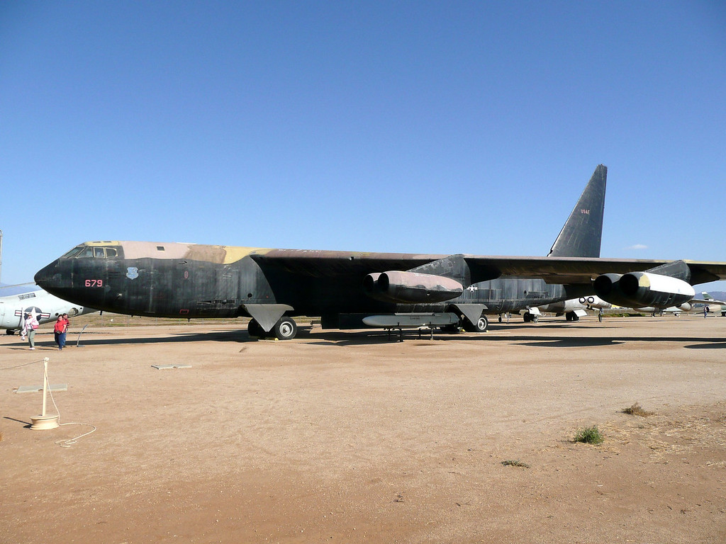 The Boeing B-52 Stratofortress is a long-range, subsonic, jet-powered, strategic bomber operated by the United States Air Force (USAF) since 1955 and still in active service to-day. Built to carry nuclear weapons for Cold War-era deterrence missions, to-day it is fitted to launch cruise missles. As of April 2008, 94 of the original 744 B-52 aircraft were still operational within the U.S. Air Force. Even while the Air Force works on new bombers scheduled for 2018 and 2037 it intends to keep the B-52H in service until at least 2040, nearly 80 years after production ended!