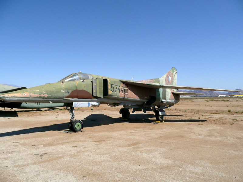 The MiG-23 was designed in 1964-66 as a successor to the MiG-21. In addition to a much more powerful engine, the MiG-23's most significant new feature was its variable sweep wing. Like the USAF's swing wing F-111, the sweep of the wings could be changed in flight.