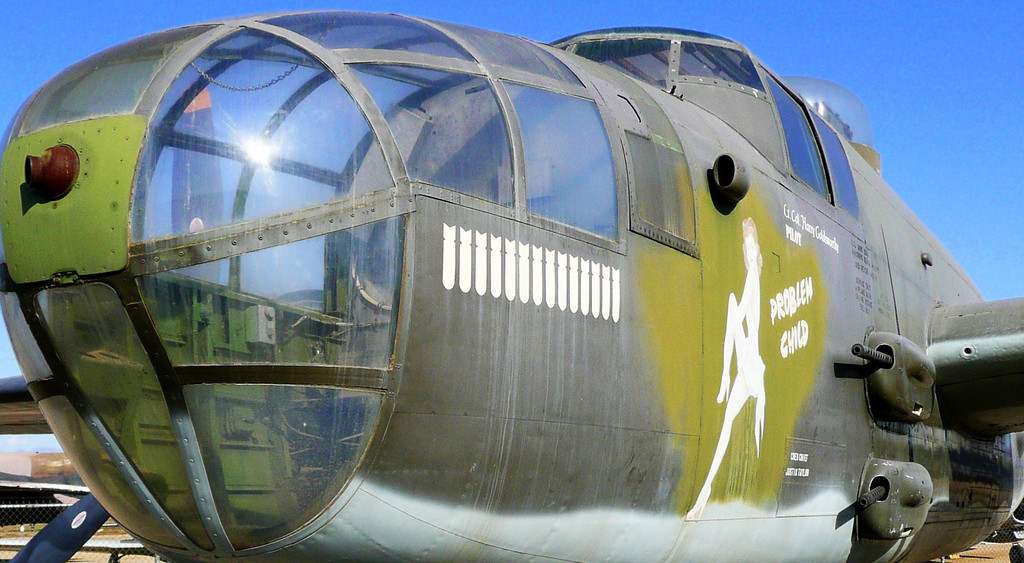 """B-25 twin engined WWII bomber: In April of 1942, Lt. Col. James H. """"Jimmy"""" Doolittle, later Lt. General, led one of the most daring missions of the war flying the B-25. Only five months after the surprise attack on Pearl Harbor, Lt. Col. Doolittle led 16 B-25 """"Mitchell"""" bombers off the deck of the U. S. S. Hornet. The B-25s bombed Tokyo, Yokohama, Kobe, and Nagoya. Lt. Col. Doolittle's """"Tokyo Raiders"""" were successful in their mission."""