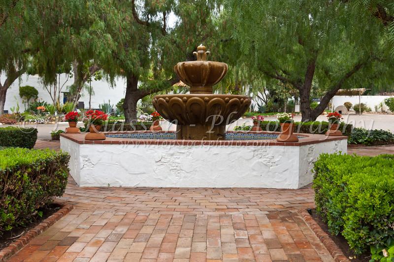 A decorative water fountain in the courtyard of the Mission Basilica San Diego de Alcala near San Diego, California, USA.