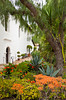 The inner courtyard of the Mission Basilica San Diego de Alcala near San Diego, California, USA.