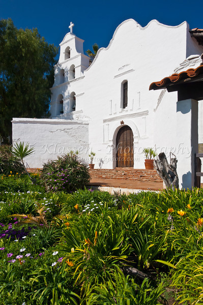 The exterior front facade of the Mission Basilica San Diego de Alcala near San Diego, California, USA.
