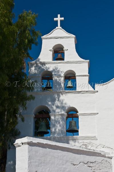 The exterior front facade of the Mission Basilica San Diego de Alcala near San Diego, California, USA.
