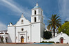 The white mission church at the Mission San Luis Rey de Francia, near Oceanside, California, USA.