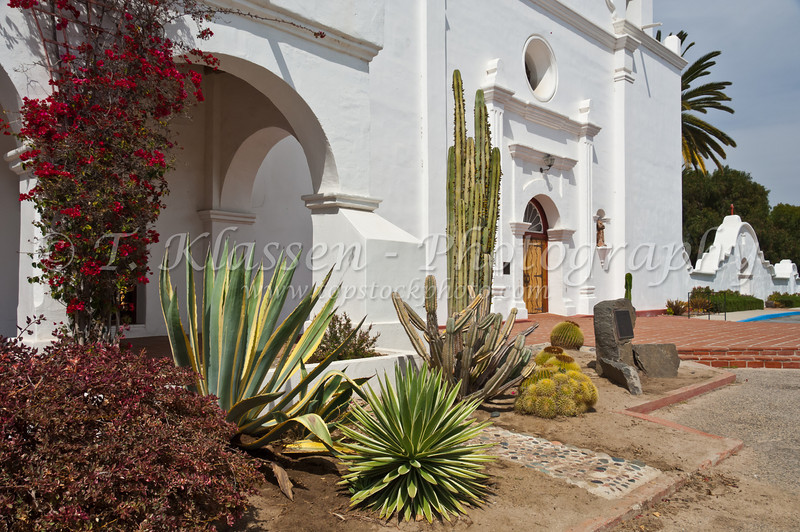 Decorative cactus plants at the Mission San Luis Rey de Francia, near Oceanside, California, USA.