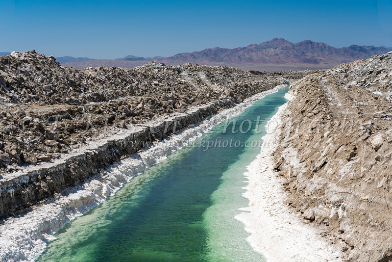Mining activities on Bristol Dry Lake near Amboy, California, USA.