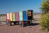 A colorful old wagon in the desert at Cima, California, USA.