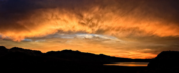 Sunset over Mono Lake - from Mono Craters trail 3 image stitch