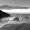 misty coast near Klamath River B&W