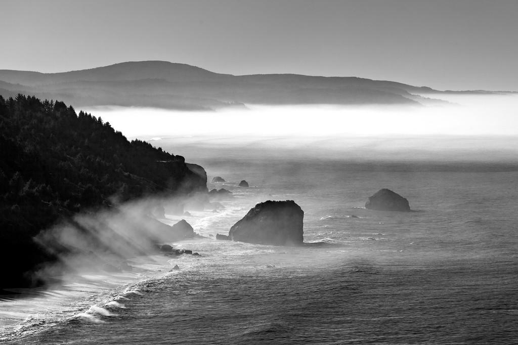 misty coast near Klamath River B&W