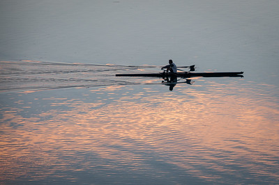 A lone rower sculling in a single scull.