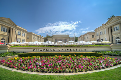 A short walk north of the plaza is Chapman University.  Founded as Hesperian College in 1861 in Woodland, California by members of the Christian, the institution changed its name to Chapman College in 1934, and by 1954 had moved to the former campus of Orange Union High School in Orange, California.   This morning was the freshman parent welcoming event, and as luck would have it, everyone was is the gymnasium which kept the luncheon area free and clear for some photography!