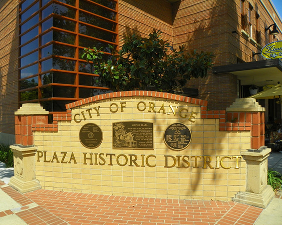 City of Orange - Plaza Historic District. The District covers 2 blocks in all directions from the intersection of Chapman Avenue and Glassell Street.