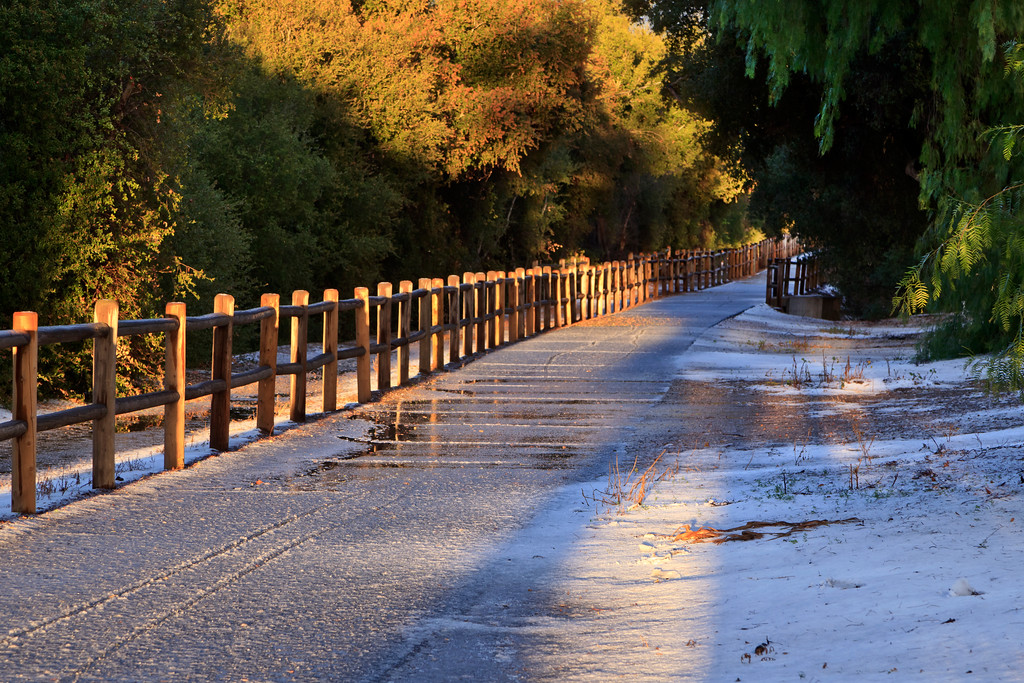 Inside front cover - Ojai's first snowfall in over 60 years covers the Ojai Valley Trail