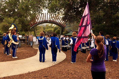 Nordhoff High School marching band at Trimpin Sound Arch