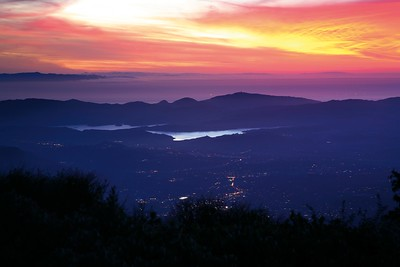 Ojai and Lake Casitas at sunset