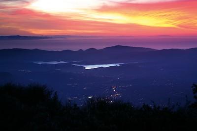 Ojai and Lake Casitas at sunset