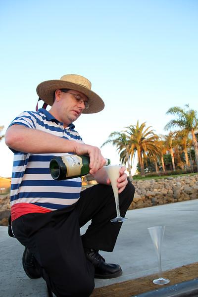 Oxnard California, Godola Paradiso, Gondolier Preparing Romantic Toast