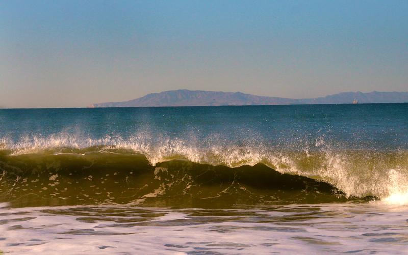 Oxnard California, Waves Crashing on Mandalay Beach