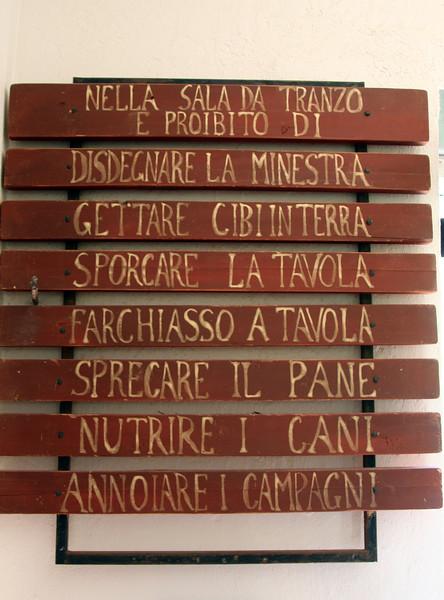 Vintage Kitchen Sign in Italian, Historic Scorpion Ranch