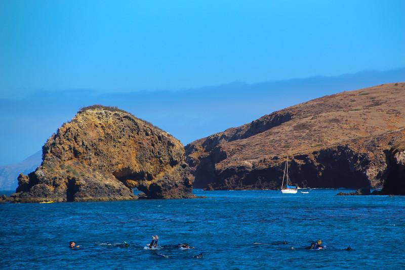 Santa Cruz Island, Channel Islands, Group of Snorkelers, Scorpion Bay