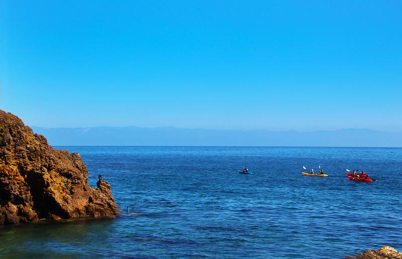 Santa Cruz Island, Channel Islands, Kayakers, Scorpion Anchorage