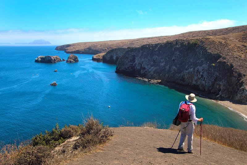 Santa Cruz Island, Channel Islands, Hiker Looking East Towards Anacapa