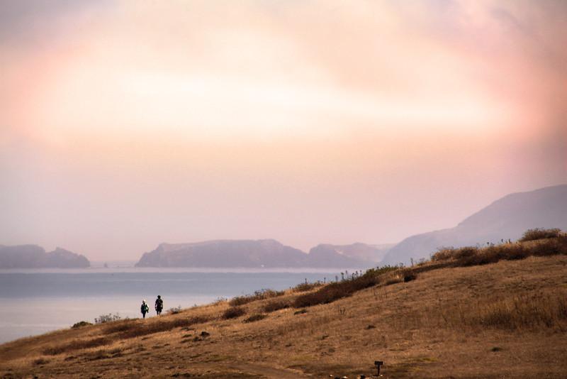 Santa Cruz Island, Channel Islands, Hikers on Cavern Point Loop Trail, Scorpion Bay View