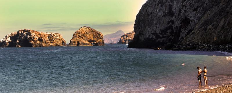 Santa Cruz Island, Channel Islands,  Panorama, Couple on Scorpion Anchorage Beach