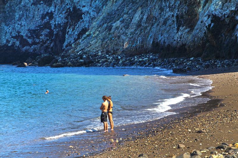 Santa Cruz Island, Channel Islands, Couple on Shore, Scorpion Anchorage
