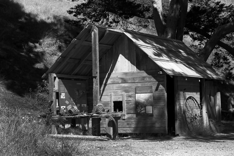 Santa Cruz Island, Channel Islands, Historic Scorpion Ranch, Old Building B/W