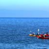 Santa Cruz Island, Channel Islands, Kayakers, Santa Ynez Mountains in Background